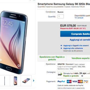 Samsung Galaxy S6 a soli 579 euro !