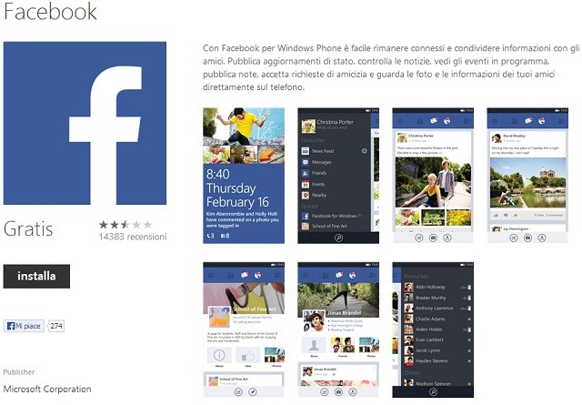 Rilasciata la versione stabile di Facebook per Windows Phone, release 8.3.6.0