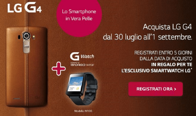 LG G Watch in regalo con l'acquisto dell'LG G4