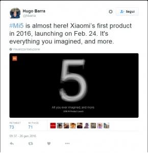 Lancio Xiaomi Mi 5