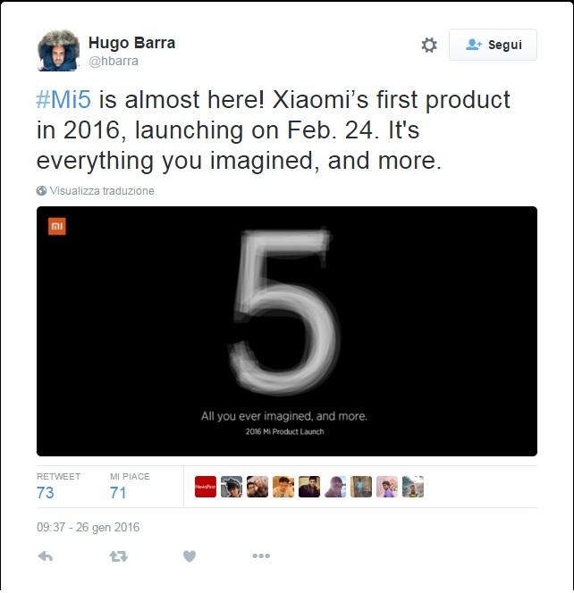 È ufficiale: il lancio Xiaomi Mi 5 avverrà il 24 febbraio
