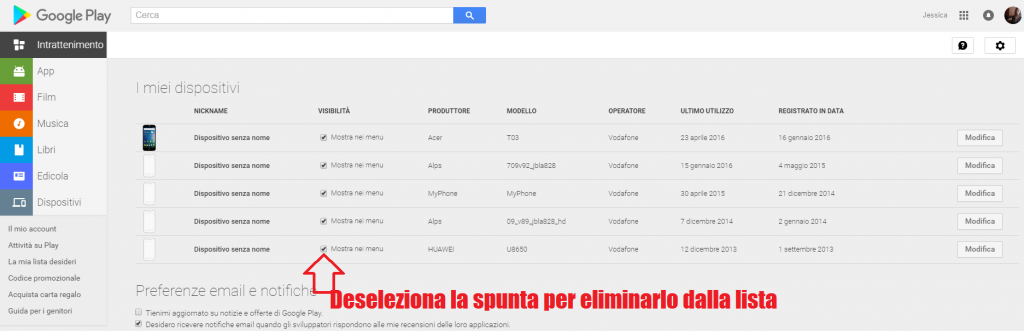 Play store, ecco come eliminare un dispositivo associato