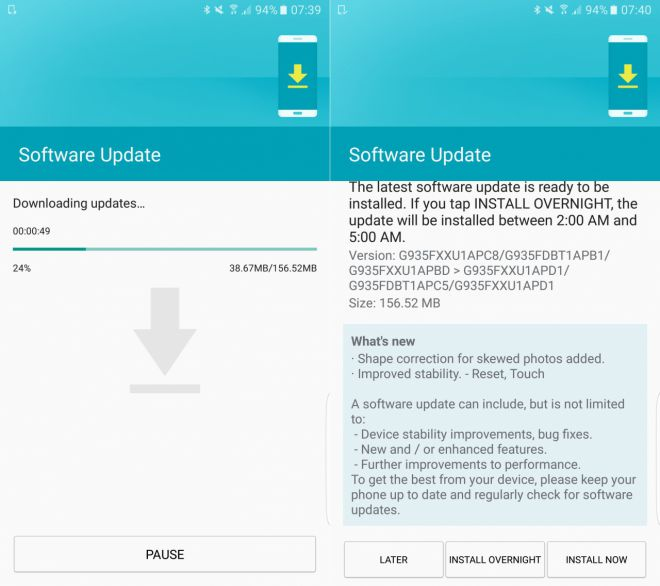Samsung Galaxy S7 e S7 Edge: nuovo update identificato come build XXU1APD1