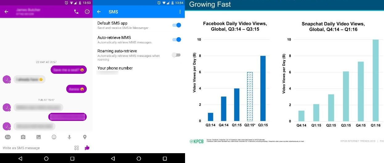 Facebook Messenger permette di inviare MMS e SMS