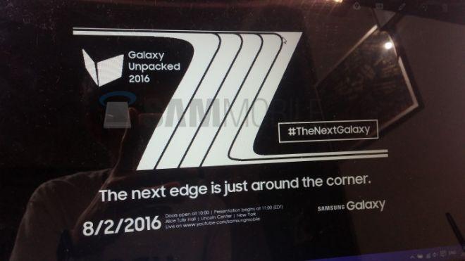 Samsung Galaxy Note 7 e Note 7 Edge svelata la data di presentazione