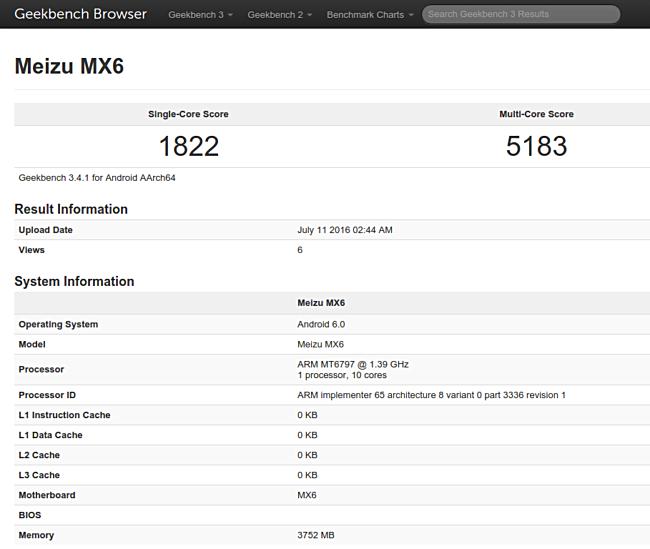 Le specifiche di Meizu MX6 confermate da GeekBench