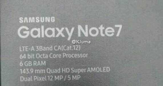Galaxy Note 7 con 6GB di RAM – la confezione di vendita