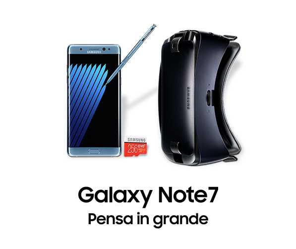 Preordina Samsung Galaxy Note 7, ricevi Gear VR 2016 ed una Micro SD da 256GB