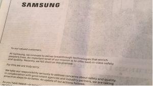 Samsung pubblica dei post di scusa sui giornali in USA