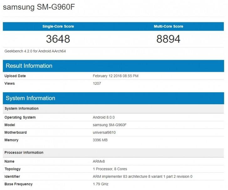 Samsung Galaxy S9 risultati exynos 9810