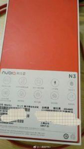 Nubia E3 leak scatola