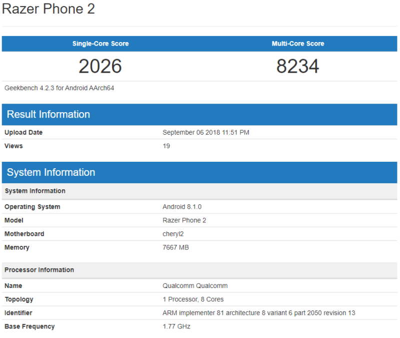Razer Phone 2 geekbench
