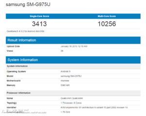 Samsung galaxy s10 plus punteggio geekbench