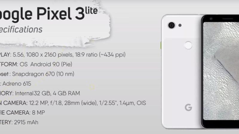 google pixel 3 lite caratteristiche tecniche