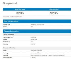 Google coral geekbech punteggio