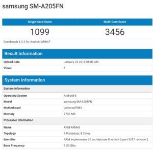 Samsung Galaxy A20 geekbench